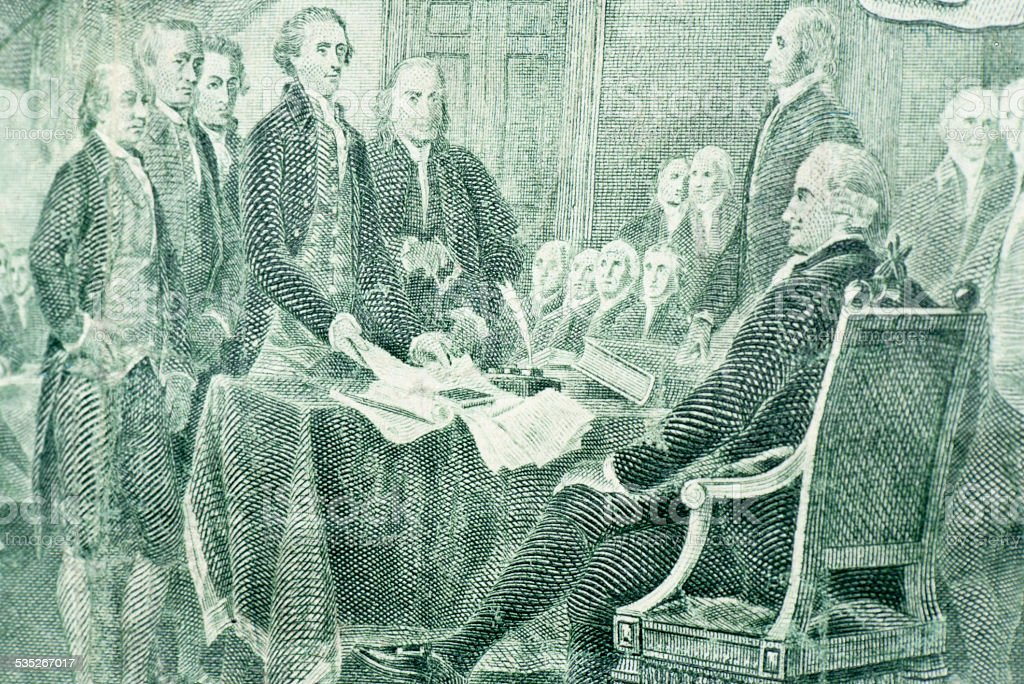2 Dollar - Declaration of Independence stock photo