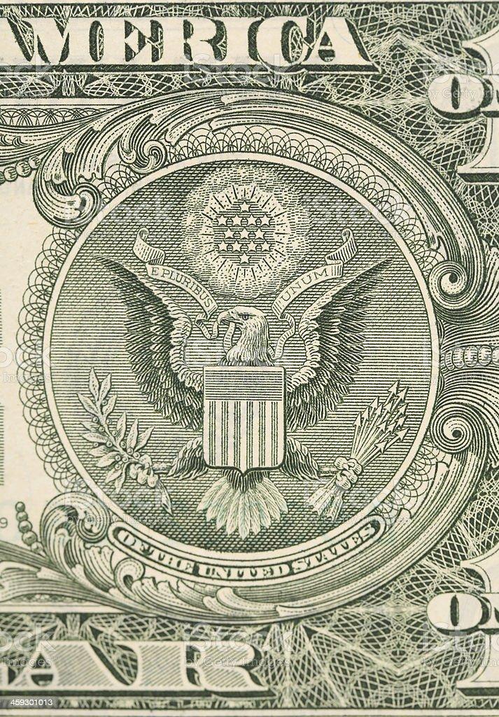 Dollar eagle banknote close up. stock photo