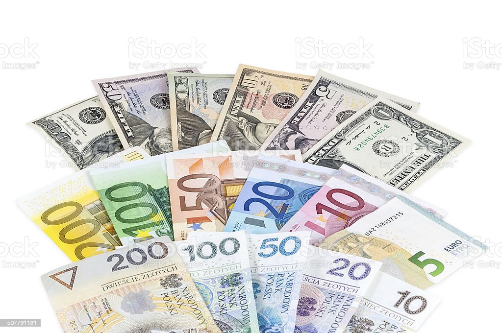 Dollar Euro And Polish Zloty Banknotes Stock Photo More Pictures