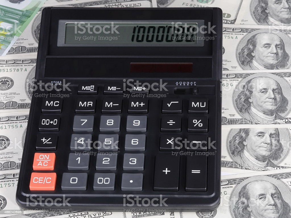 dollar, euro banknote and calculator stock photo