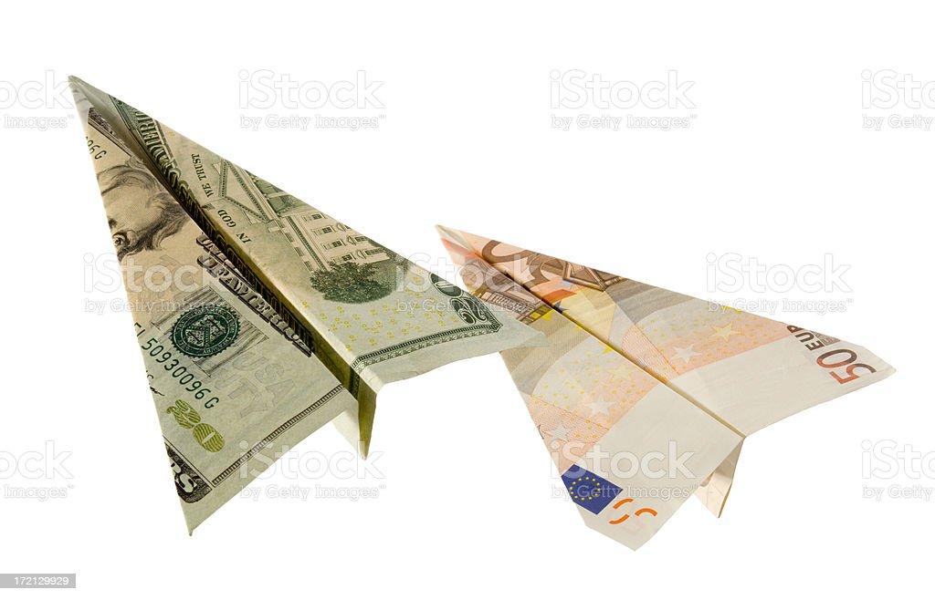 Dollar & Euro Formation Flight royalty-free stock photo