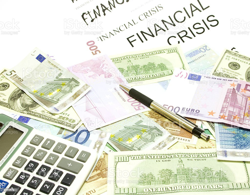 Dollar, euro, la poulie verticale, les billets, calculatrice, Stylo photo libre de droits