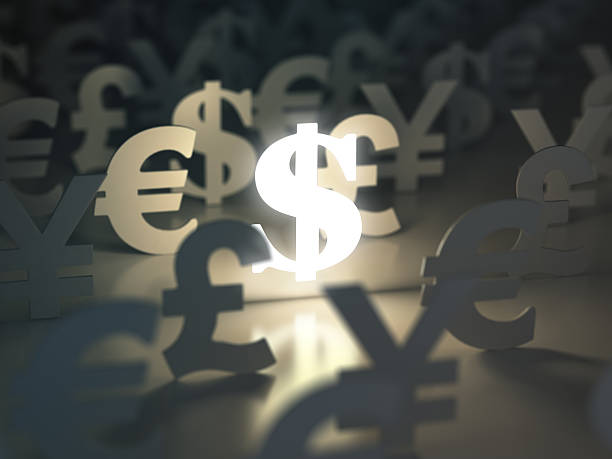 Dollar, euro, pound and yen signs. Ñurrency exchange concept. stock photo