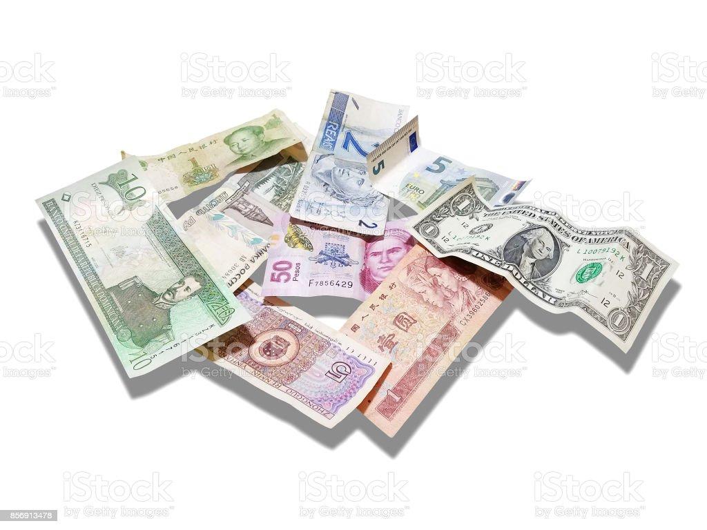 Dólar, Euro, Yuan, Rube, Real, Pesos, aislado en blanco - foto de stock
