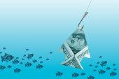 Hundred dollars on fishing hook