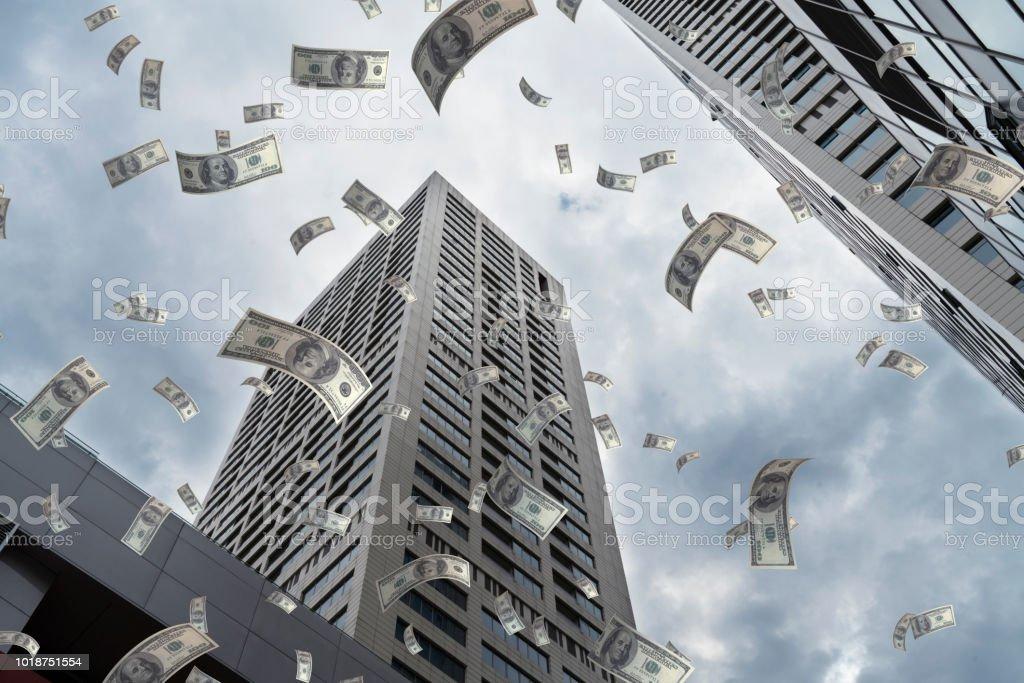 Dollar Flying in City stock photo
