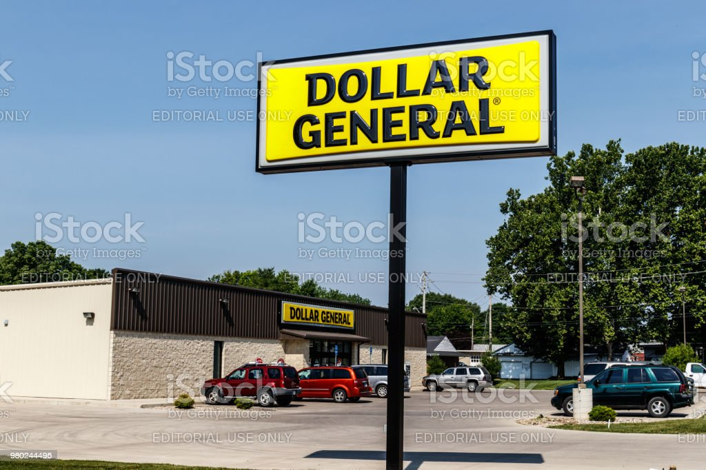 Dollar General Retail Location. Dollar General is a Small-Box Discount Retailer III stock photo