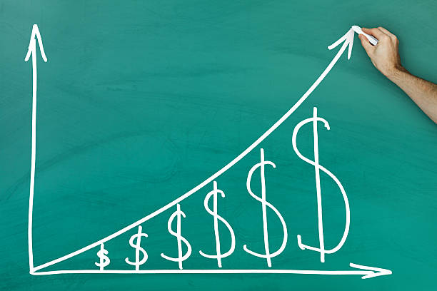 dollar growth chart - high up stock photos and pictures
