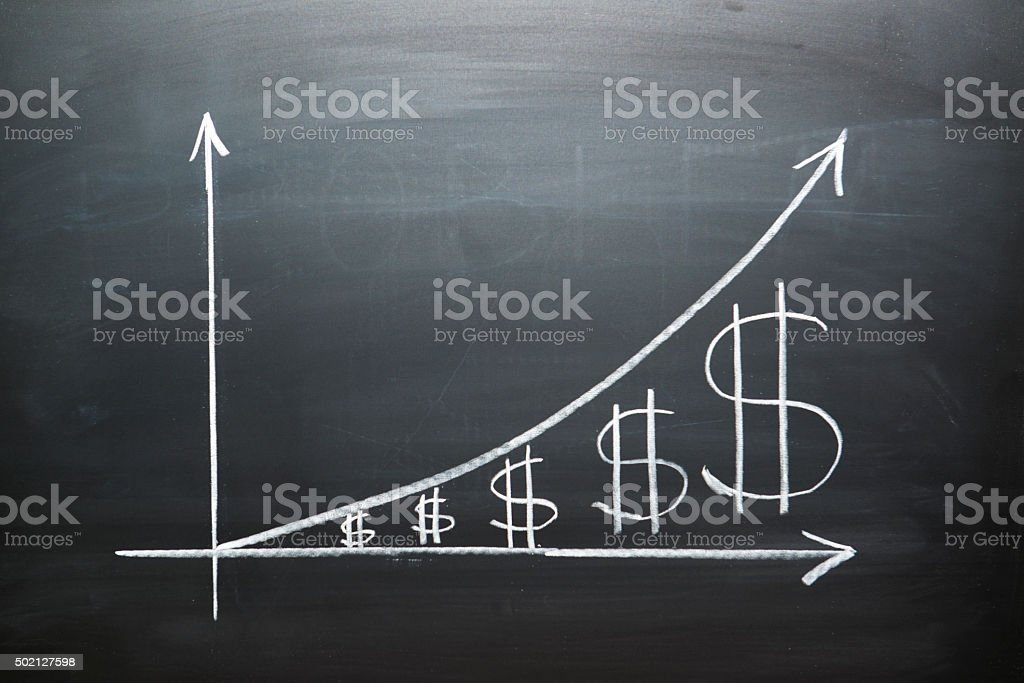 Dollar growth chart stock photo