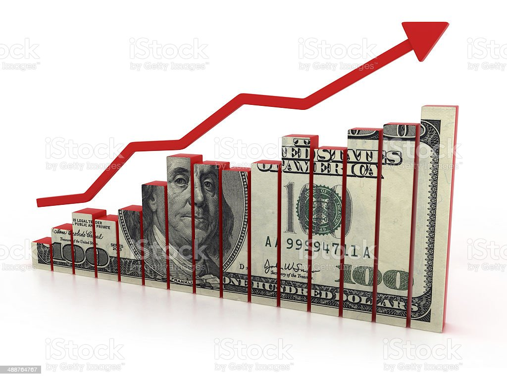 dollar growth diagram stock photo