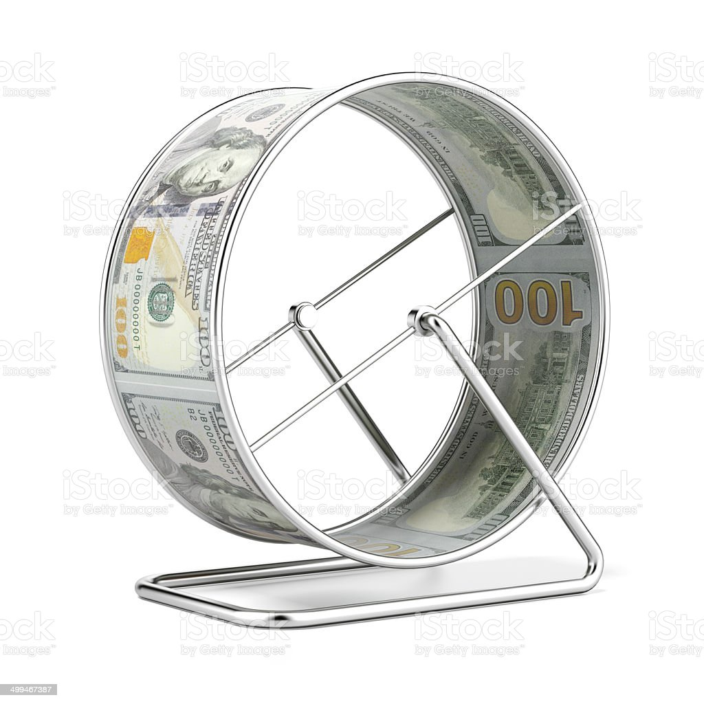 Dollar Hamster Wheel stock photo