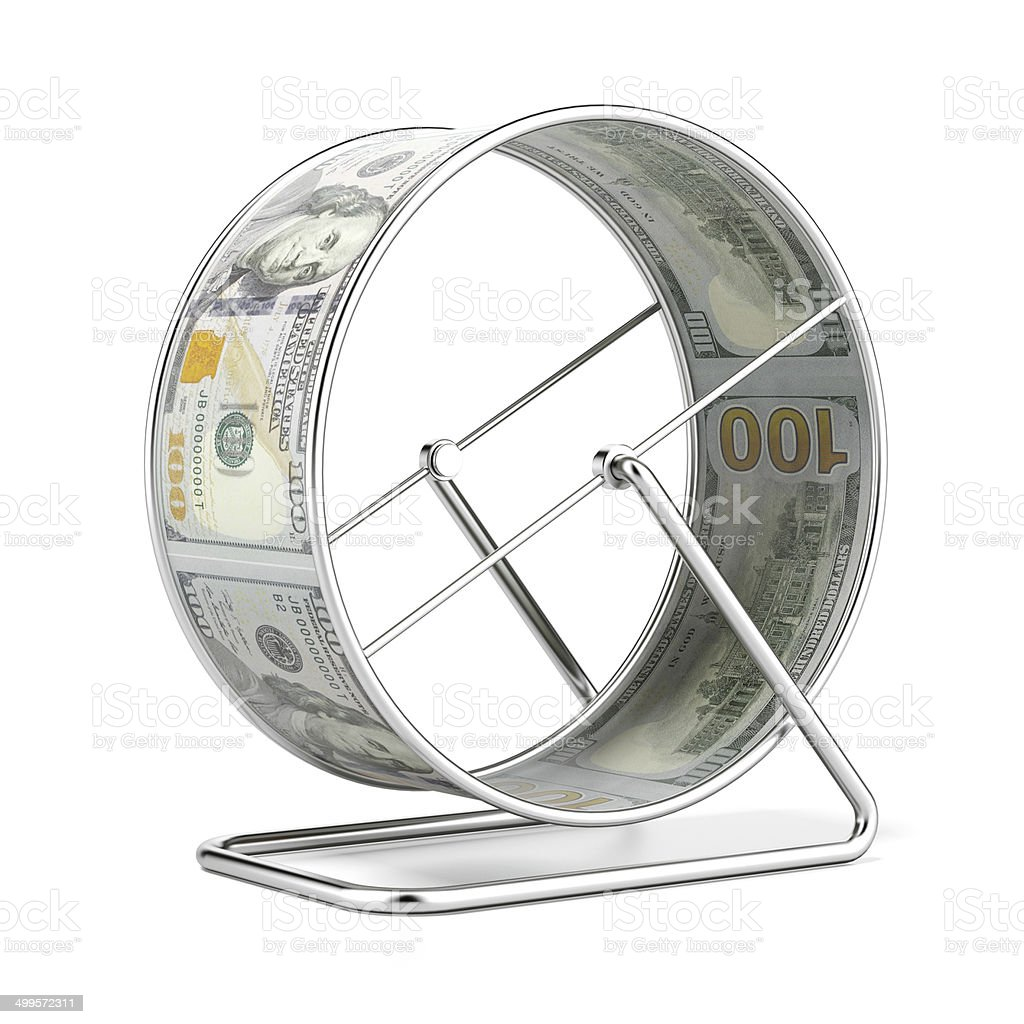 Dollar Hamster Wheel stock photo