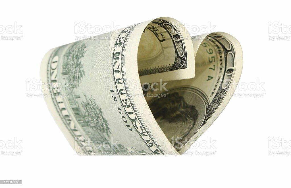 dollar heart royalty-free stock photo