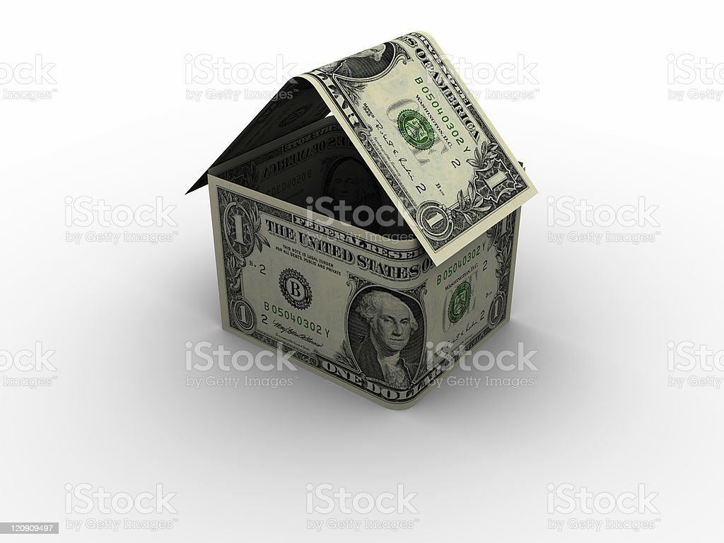 Dollar House in 3d royalty-free stock photo