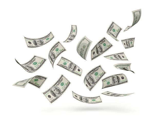 us dollar hundred bills in air - on air stock photos and pictures