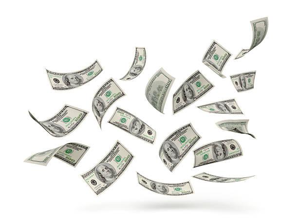 US Dollar Hundred Bills In Air stock photo