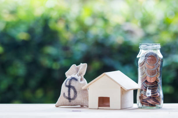 US dollar in a money bag, small residential, house model on table against green nature background. stock photo