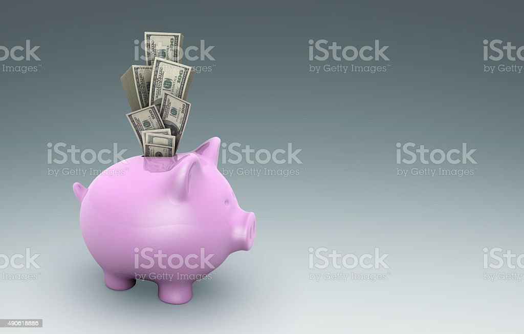 Dollar in a Piggy Bank stock photo