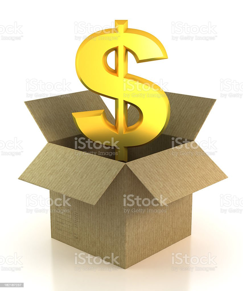 Dollar in cardboard box - isolated with Clipping Path royalty-free stock photo