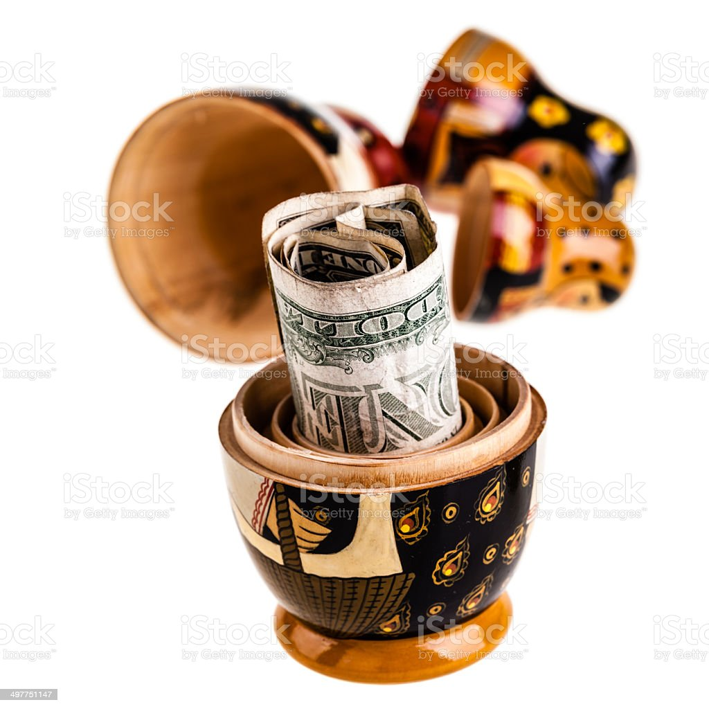 Dollar in russian doll royalty-free stock photo