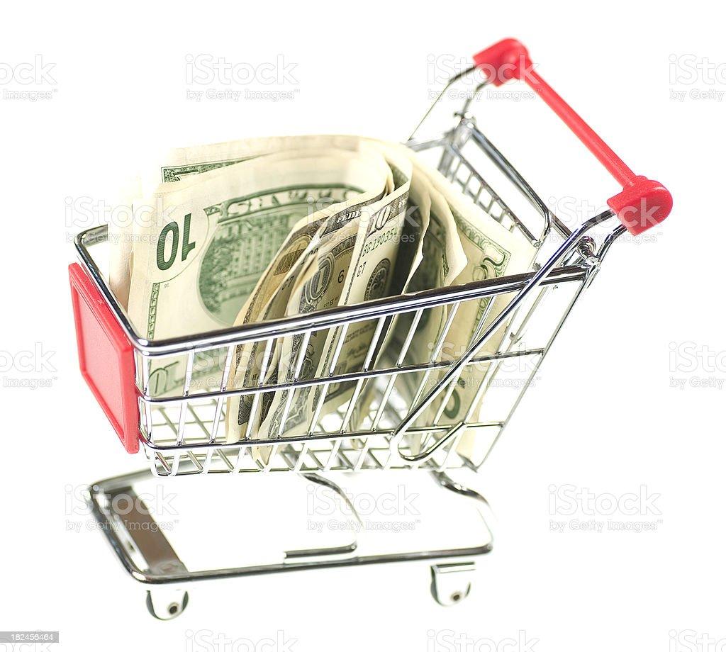 dollar in shopping cart royalty-free stock photo