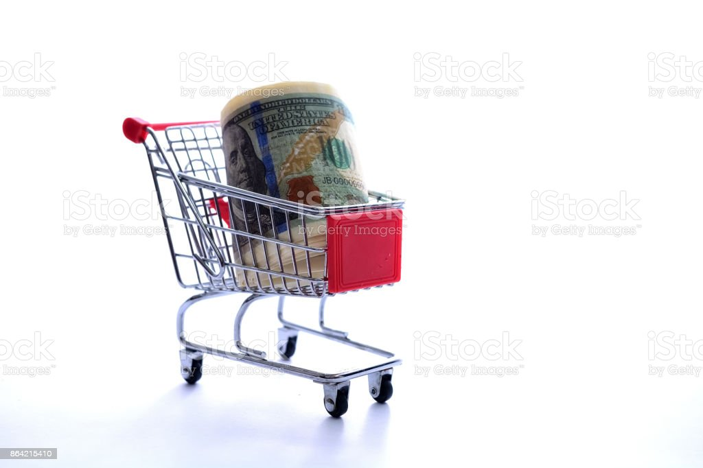 Dollar in shopping craft royalty-free stock photo