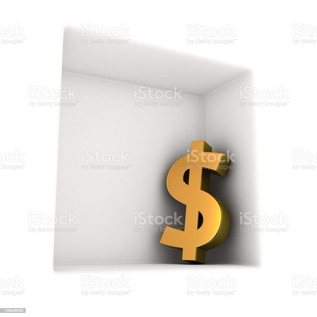Dollar in the corner royalty-free stock photo