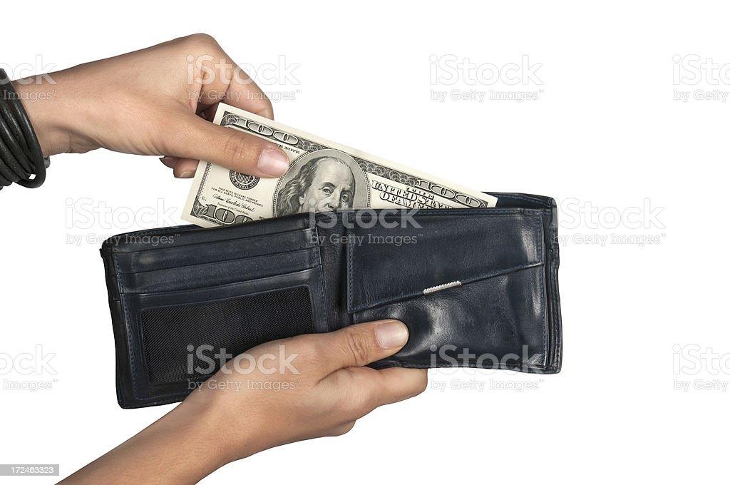 Dollar in wallet stock photo