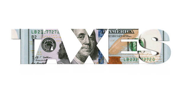 """""""TAXES"""" Dollar Isolated """"TAXES"""" Dollar Isolated isolated on white background. 3D render economic reform stock pictures, royalty-free photos & images"""