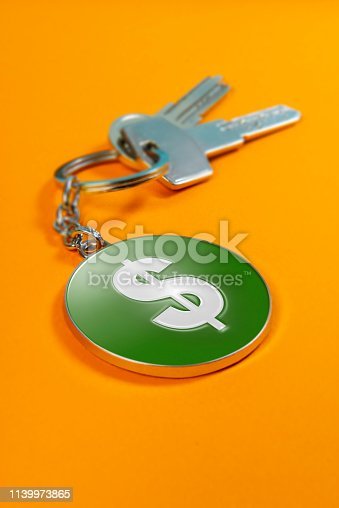 Dollar icon on round keychain and keys.
