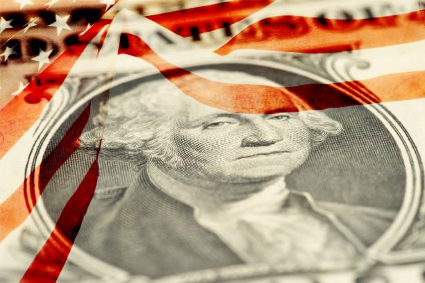 Dollar Money and Flag of USA stock photo