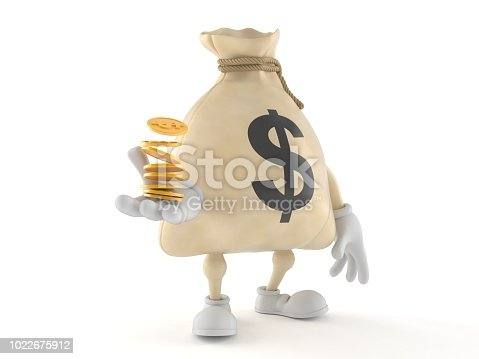 872222012istockphoto Dollar money bag character with stack of coins 1022675912