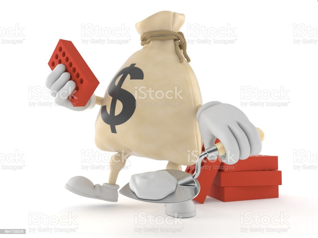 Dollar money bag character with trowel and bricks royalty-free stock photo