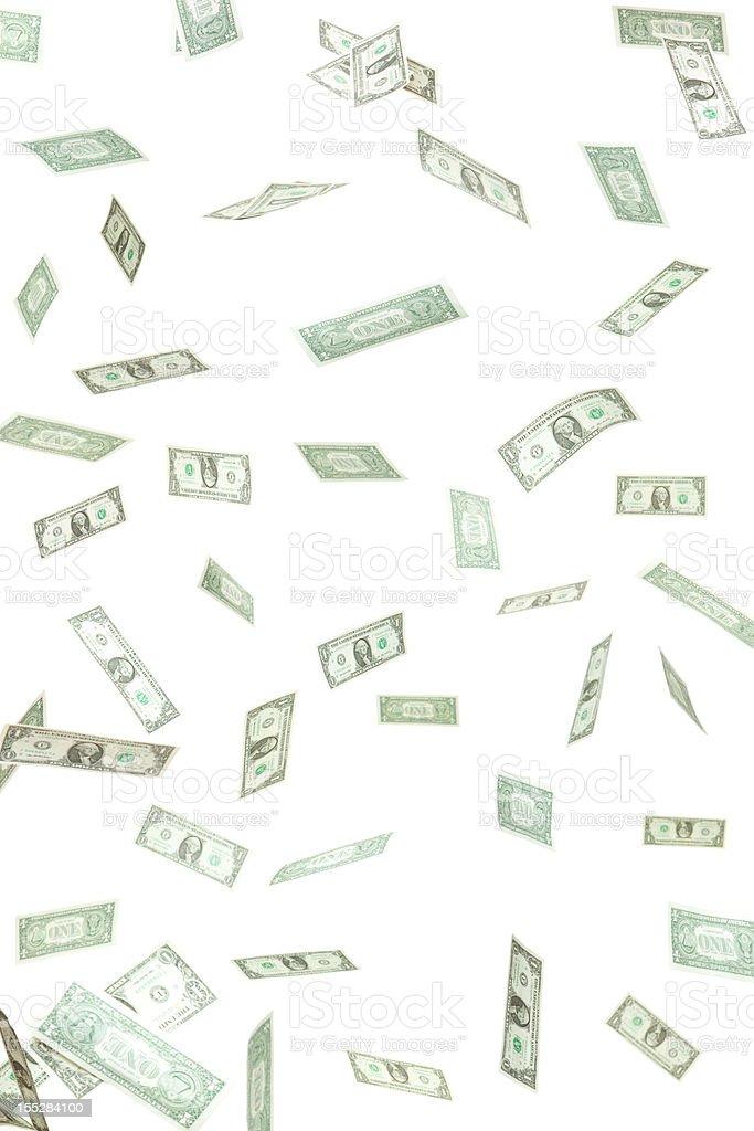 Dollar Money Confetti Falling Isolated on White stock photo
