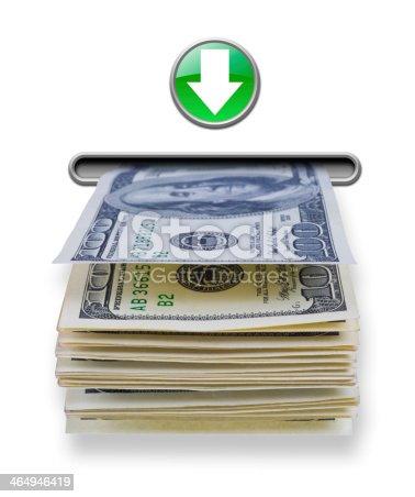 istock US dollar money stack dispensed from ATM cash machine 464946419