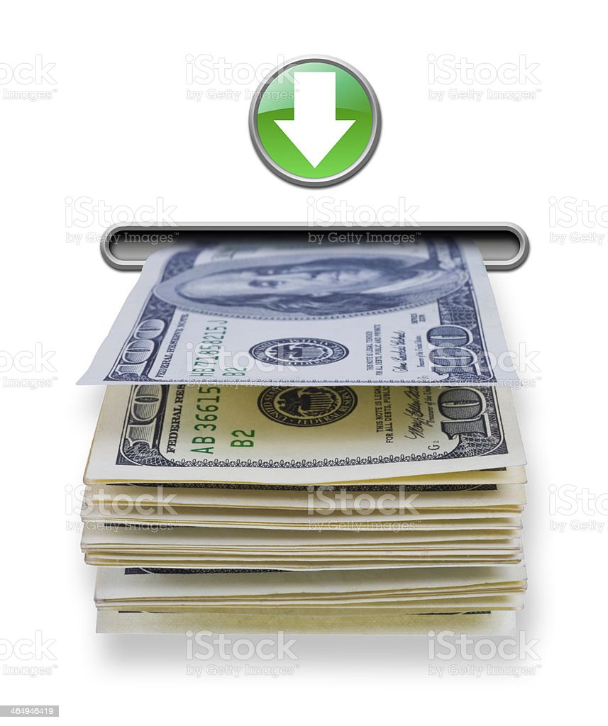 US dollar money stack dispensed from ATM cash machine stock photo