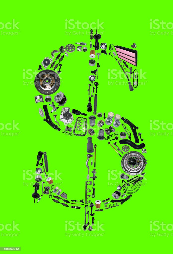 Dollar money with auto parts for car stock photo