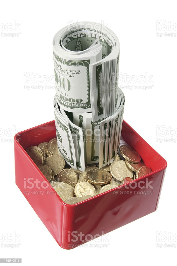 Dollar Notes and Coins in Box royalty-free stock photo
