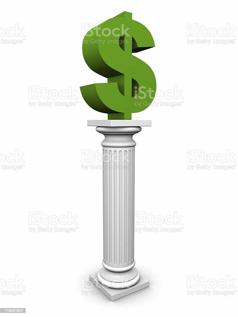 dollar on column royalty-free stock photo