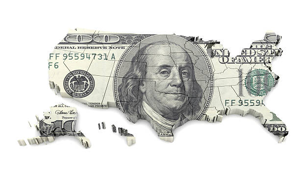 dollar on usa map - alaska us state stock photos and pictures