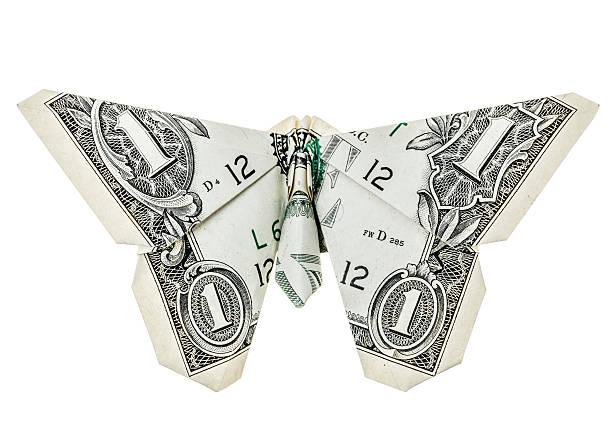 dollar origami papillon - origami photos et images de collection