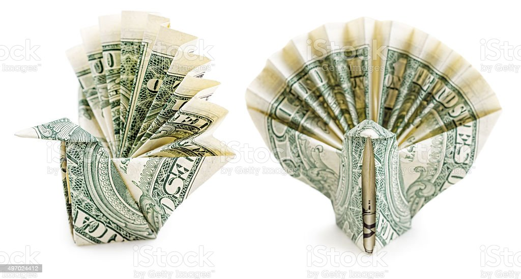 Dollar Origami Peacock Isolated Stock Photo More Pictures Of 2015