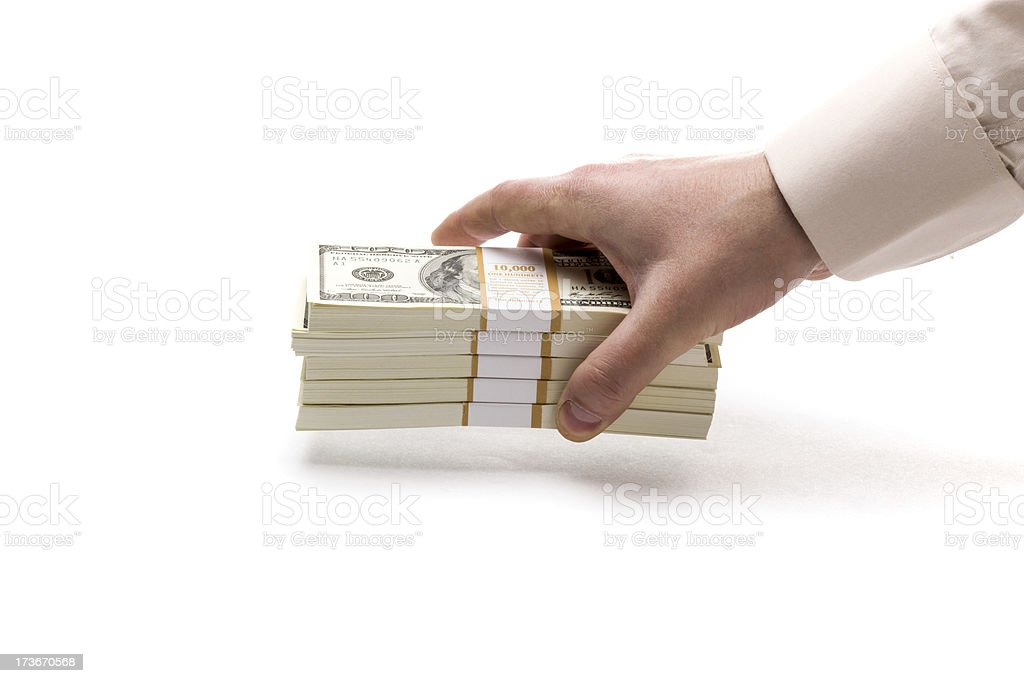 Dollar packs in hand royalty-free stock photo