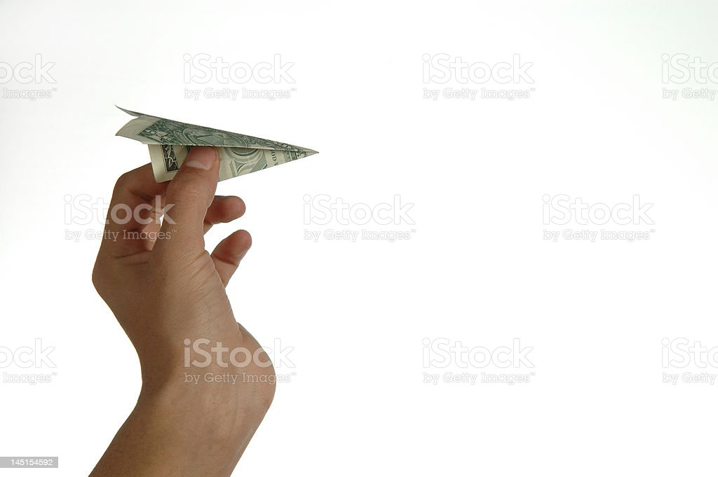 dollar paper airplane stock photo