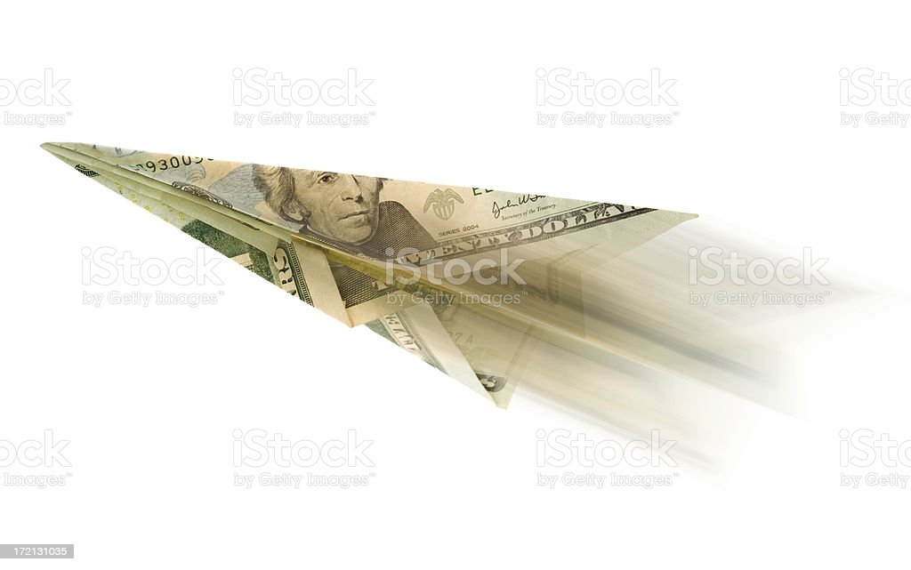 Dollar Paper Plane in motion stock photo
