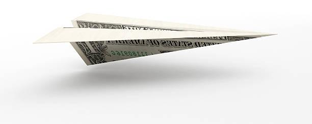 3D Dollar Paper Plane stock photo