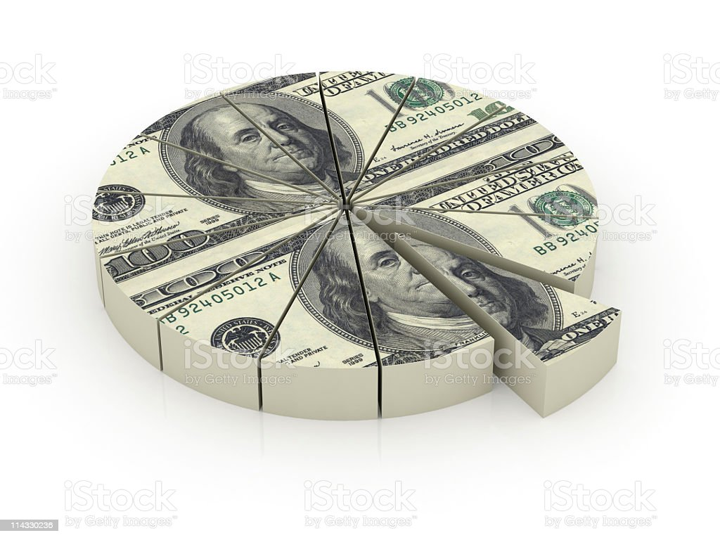 Dollar Pie Chart stock photo