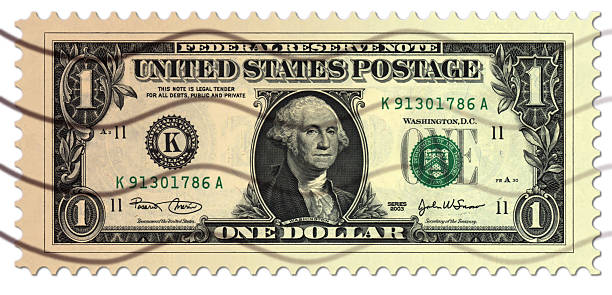 dollar postage stamp - social security check stock photos and pictures