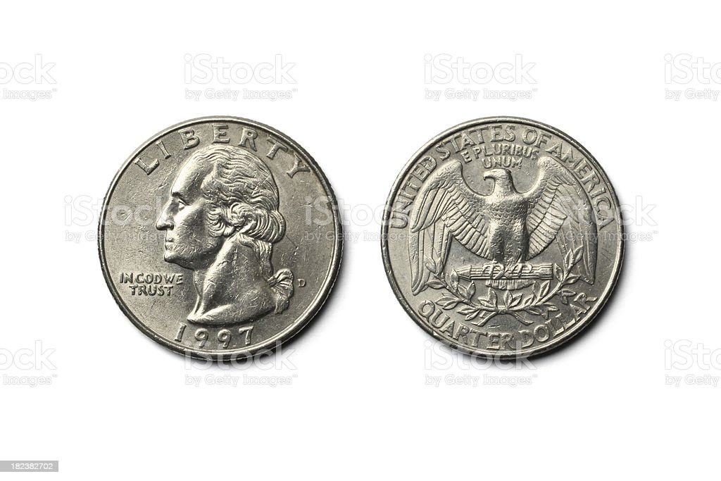 US Dollar Quarter Coin stock photo