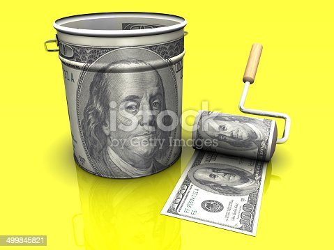 istock Dollar Roll and Bucket 499845821